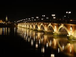 Bordeaux river and bridge by night